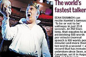世界上说话最快的人,西恩·沙侬(23.8秒背完哈姆雷特)