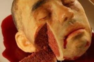 世界上最恐怖的蛋糕,超逼真血淋淋人头蛋糕/你敢吃吗